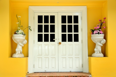 Closed white door on yellow wall and have two flower vase with flowers in the front photo