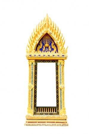 Thai temple window on white background, nakhon prathom province Thailand photo