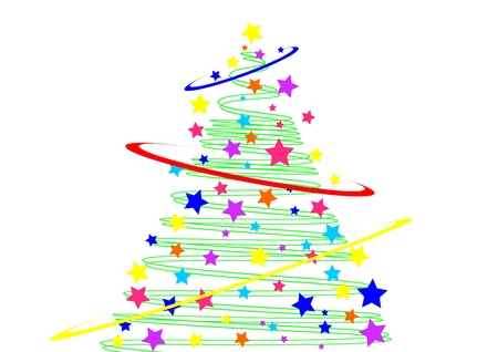 merrily: the stylized christmas tree and stars isolated on white Stock Photo