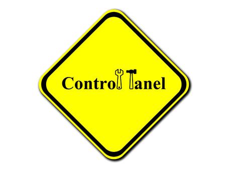 tablero de control: la se�al de advertencia de color amarillo - el panel de control, ilustraci�n