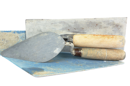 lute: set of construction lute trowels tool isolated on white Stock Photo