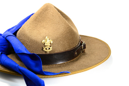 stockman: brown brim hat (hat of scout) isolated on white