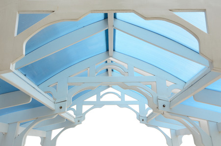 rafter: wood frame of a summerhouse roof with wood rafter isolated
