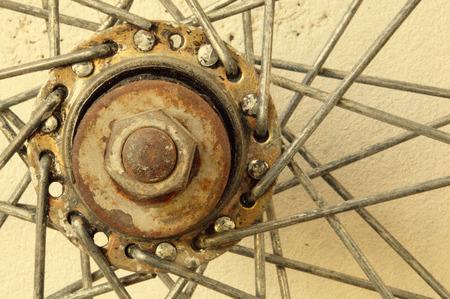 details of bicycle spoke wheel, vintage add grain photo