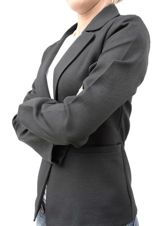human's arm: businesswoman in black suit cross one