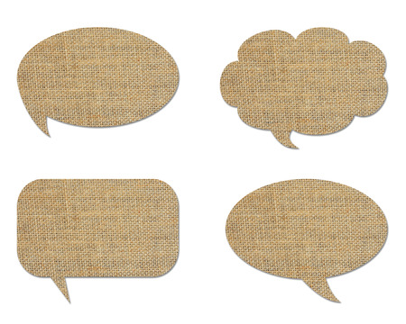 set of speech bubble from sack isolated on white photo