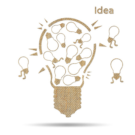 disharmony: burlap broken light bulb and disharmony idea, concept unsuccessful Stock Photo