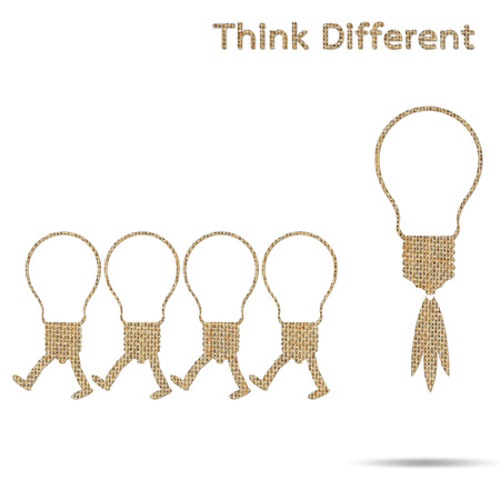 differently: burlap light bulb different think isolated on white background