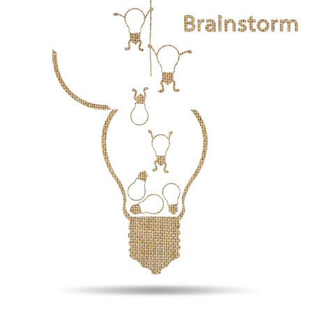 conceptual efficiency, teamwork, brainstorming, burlap creative light bulb idea photo
