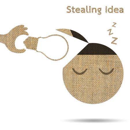 hand stealing idea light bulb from head of businessman, burlap