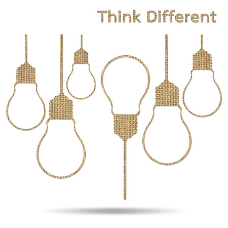 different thinking: burlap light bulb different thinking isolated on white background