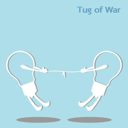 tug of war: Tug of war, two light bulb pulling a rope in opposite direction, vector