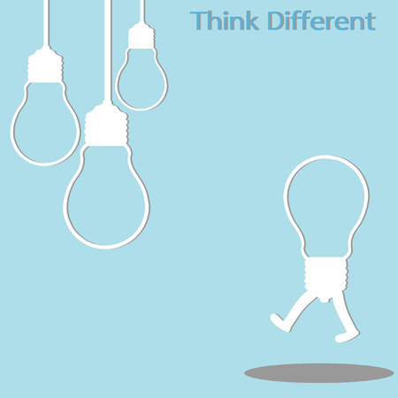 differently: light bulb different thinking, isolated vector