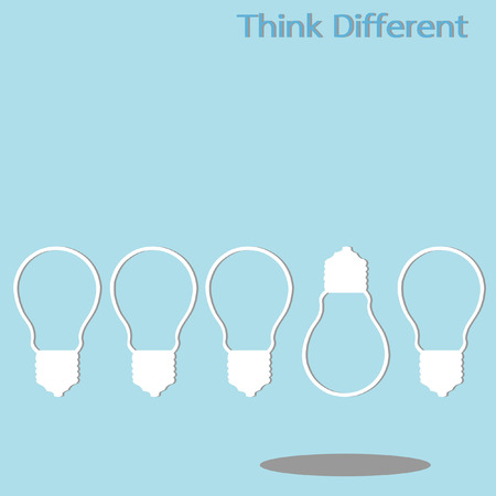 different thinking: light bulb different thinking, isolated vector