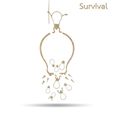 survival: burlap broken light bulb survival concept isolated on white Stock Photo