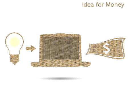 idea is money concept isolated on white, burlap photo