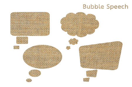 woven label: set of bubble speech from burlap isolated on white