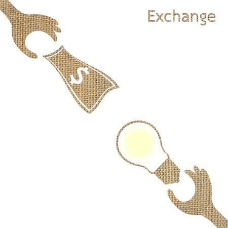 cash cycle: exchange light bulb idea and money, burlap