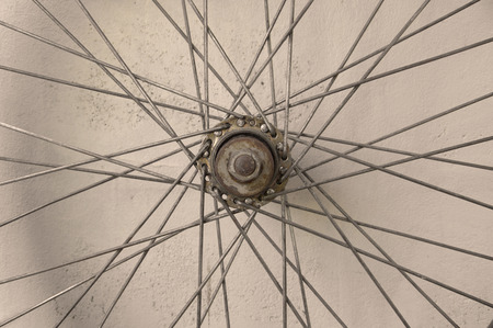 spoke: details of bicycle spoke wheel Stock Photo