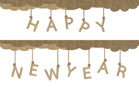 Hanging Happy New Year Words Isolated On White Design From Burlap ...