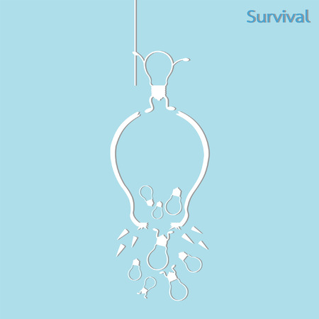 survival: broken light bulb survival concept, isolated vector
