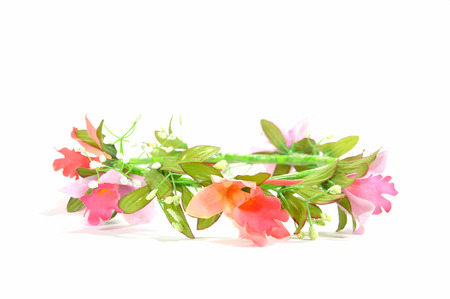 tiara: beautiful pink flower crown isolated on white background Stock Photo