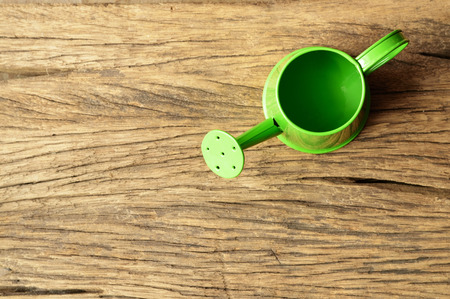 watering pot: green watering pot on old wooden table Stock Photo