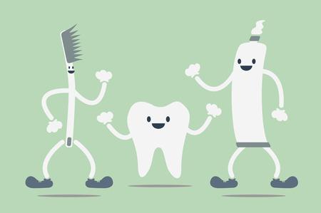 dental cartoon vector, teeth best friend - toothbrush and toothpaste