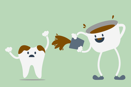 tooth cartoon: dental cartoon vector, teeth problem from coffee
