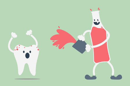 dirty teeth: dental cartoon vector, teeth problem from soft drink Illustration