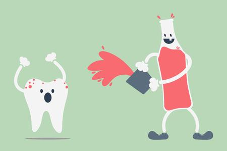 dientes con caries: vector de la historieta dental, los dientes problema de refresco Vectores
