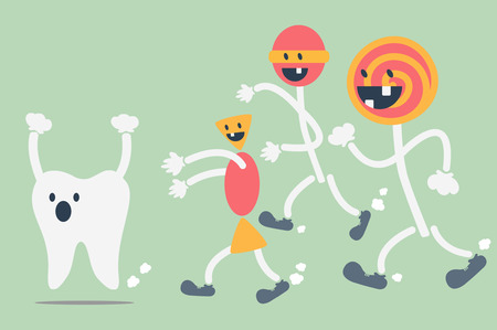 dientes con caries: vector de la historieta dental, los dientes problema de los dulces