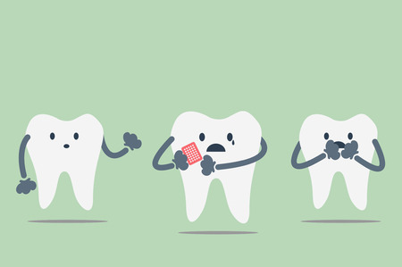 because: dental cartoon vector, teeth be pained because toothache