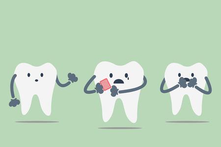dientes con caries: vector de la historieta dental, los dientes se dol�an porque el dolor de muelas Vectores