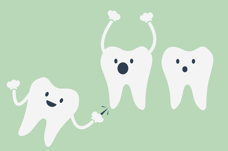 wisdom: dental cartoon vector, teeth be pained because wisdom tooth