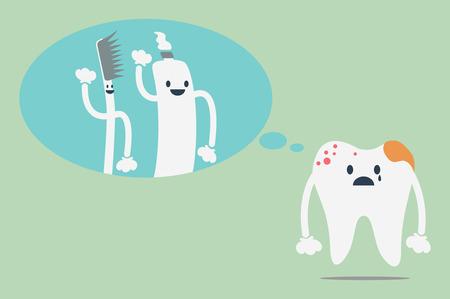 dientes con caries: vector de la historieta dental, dientes cariados pierdas a un amigo - cepillo de dientes y pasta de dientes Vectores