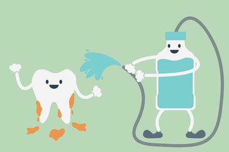 dientes sucios: vector de la historieta dental, limpieza dental por enjuagues bucales Vectores
