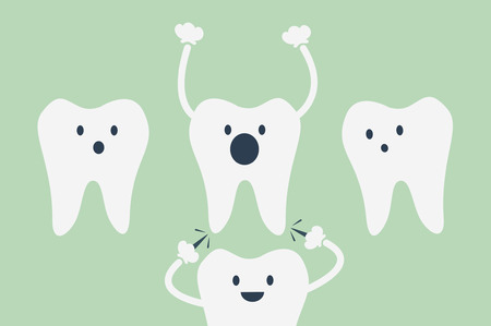 aching: dental cartoon vector, teeth be pained because wisdom tooth