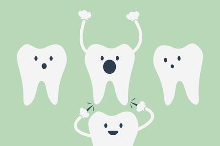 sore: dental cartoon vector, teeth be pained because wisdom tooth