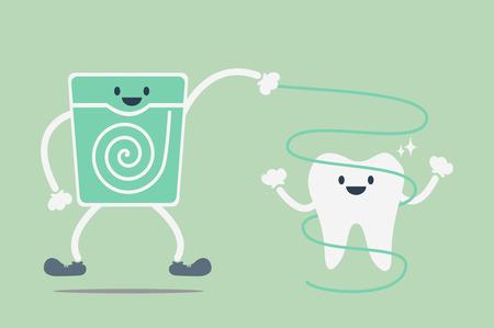dientes sucios: vector de la historieta dental, limpieza dental por la seda dental Vectores