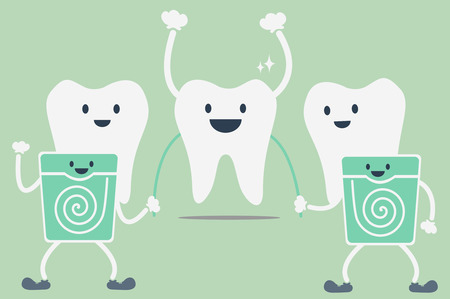 dental cartoon vector, teeth cleaning by dental floss