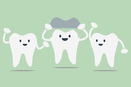 dental cartoon vector, dental crowns