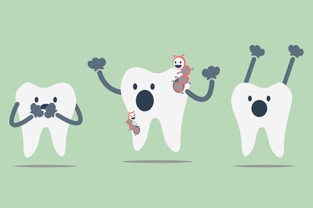 dirty teeth: dental cartoon vector, decayed tooth
