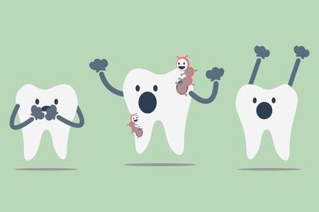 dientes sucios: vector de la historieta dental, diente cariado Vectores