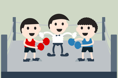 boxing ring: boxing cartoon vector, referee is start game of boxer on boxing ring