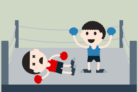 opponents: boxing cartoon vector, boxer is knock opponents on boxing ring
