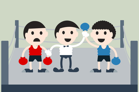 boxing sport: boxing cartoon vector, referee is raise hand win boxer on boxing ring