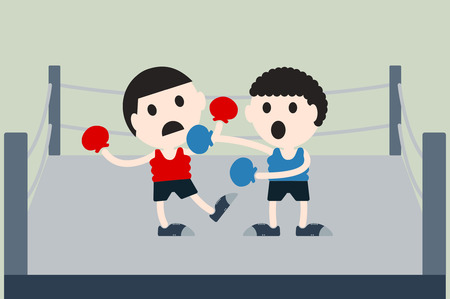 opponents: boxing cartoon vector, boxer are box opponents on boxing ring