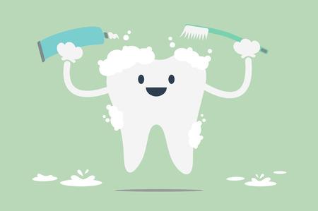 dental cartoon vector, tooth is brush the teeth Stock Illustratie