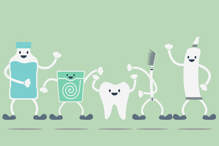 dental cartoon vector, teeth best friend Stock Illustratie